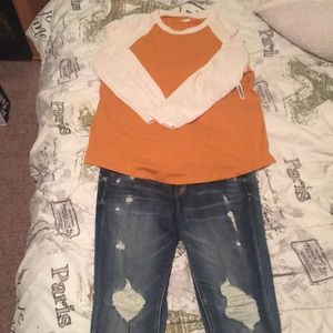 NWT long sleeve shirt & distressed skinny jeans.
